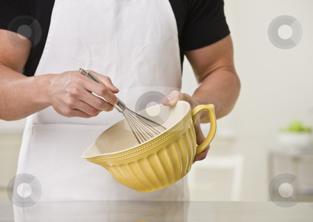 Man with whisk. stock photo, White muscular male with whisk and bowl. Horizontal. by Jonathan Ross