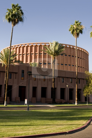 Music Building in front of the University Football Stadium stock photo, Music Building in front of the University Football Stadium - Arizona State University by Mehmet Dilsiz