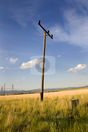 Electric Pole in a Field in Helena stock photo, Electric Pole in a Field in Helena Montana with Blue Skies and Clouds on the Background by Mehmet Dilsiz