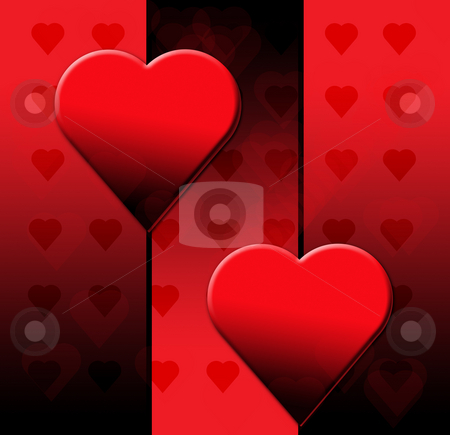 Valentines Day Black Heart stock photo, Valentines Day Postcard with Red and Black Hearts by Mehmet Dilsiz