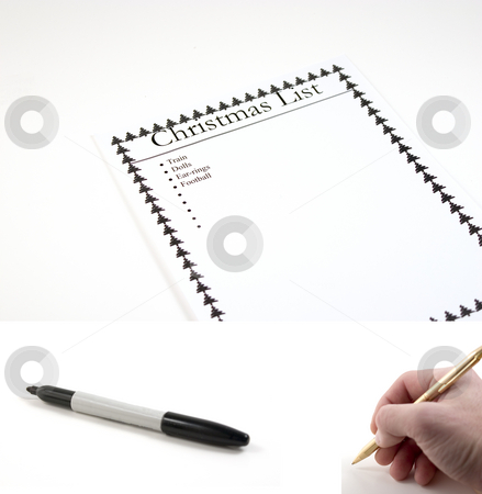 Christmas List - (marker and hand with pen included to be pasted stock photo, Christmas List Paper - hand with pen and marker included separately.  Feeback Paper dimension 3072x2048... Hand with pen dimension 1000x990, Marker dimension 1700x760 by Mehmet Dilsiz