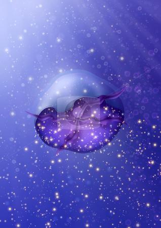 Jellyfish Meduse Glow stock photo, Jellyfish Meduse Glowing Swim in Water by Andrey Klyuchnikov