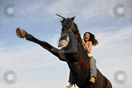 Rearing stallion and laughing girl stock photo, Rearing black stallion and laughing girl in a blue sky. focus on the woman. by Bonzami Emmanuelle