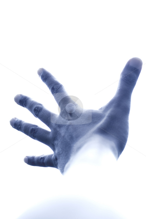 Blue hand pushing the sky stock photo, Conceptual portrait of blue male hand reaching up to the sky by R. Eko Bintoro