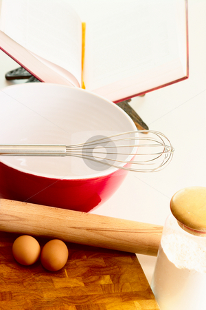 Baking stock photo, Baking ingredients and untensils in a bright Kitchen. High key shot with shallow depth of field. by Martin Darley