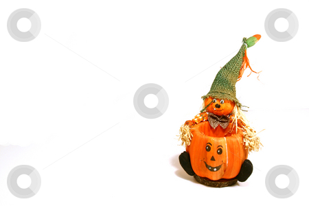 Halloween Decoration  stock photo, Halloween Decoration - Scarecrow and the Pumpkin by Mehmet Dilsiz