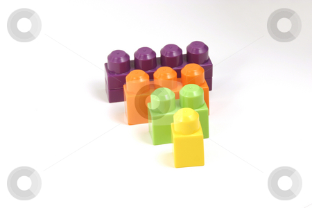Isolated Toy Blocks stock photo, Isolated Four Color Blocks by Mehmet Dilsiz