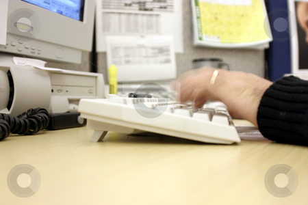 Typing It Away stock photo, Fast Fingers, Typing it away in the Office by Mehmet Dilsiz