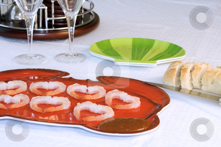 Shrimp Plate with Sliced Bread and Cocktail Set stock photo, Close up on a Table with Shrimp Plate with Sliced Bread and Cocktail Set by Mehmet Dilsiz