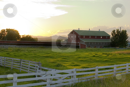 Countryside - Fence Surrounding A Ranch stock photo, Wooden Fence by the Countryside Ranch by Mehmet Dilsiz