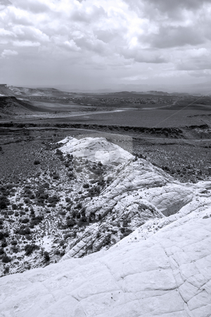 Looking down the Sandstones in to Snow Canyon - Utah stock photo, Snow Canyon in St. George, Utah - Sandstones - Black and White by Mehmet Dilsiz