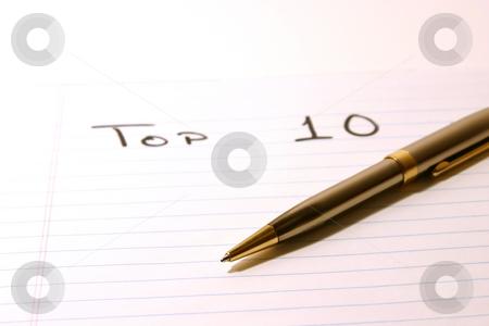 TOP 10 - Notepad & Pen stock photo, TOP TEN- Notepad & PenIsolated by Mehmet Dilsiz