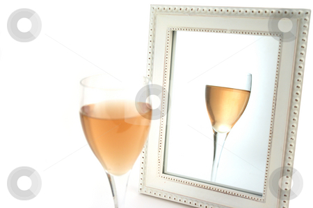 Isolated Wine in front of a Mirror stock photo, Isolated Wine in front of a Mirror with White Background by Mehmet Dilsiz