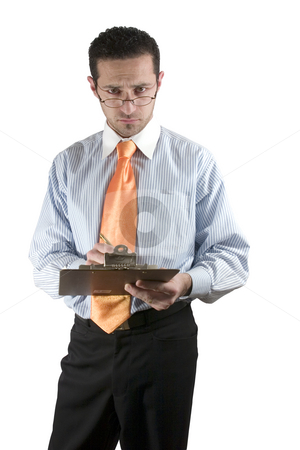 Businessman looking over his glasses with clipboard on hand stock photo, Isolated businessman / quality inspector looking over his glasses by Mehmet Dilsiz