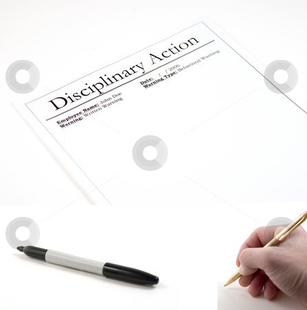 Disciplinary Action- (marker and hand with pen included to be pa stock photo, Disciplinary Action Paper - hand with pen and marker included separately.  Feeback Paper dimension 3072x2048... Hand with pen dimension 1000x990, Marker dimension 1700x760 by Mehmet Dilsiz