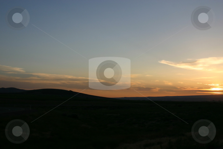 Sunset in Oregon stock photo, Sunset in Oregon by the highway by Mehmet Dilsiz
