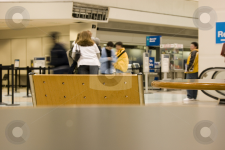 People Waiting at the Airport stock photo, People Waiting at the Airport - view from a table by Mehmet Dilsiz