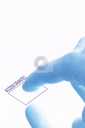 Access Granted - Fingerprint Security stock photo, Isolated Access Granted - Fingerprint Security by Mehmet Dilsiz