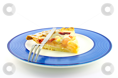 Slice of Strawberry Pie stock photo, Slice of strawberry and apple pie on a blue plate with a small fork on a white background by Keith Wilson