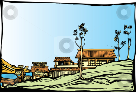 Japanese Village stock vector clipart, Japanese village in the style of traditional woodblock print. by Jeffrey Thompson
