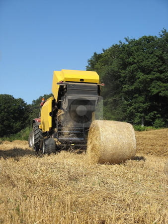 Round Baler stock photo, A round baler discharges a wheat bale during harvesting of winter fodder for the livestock. by Gozzoli