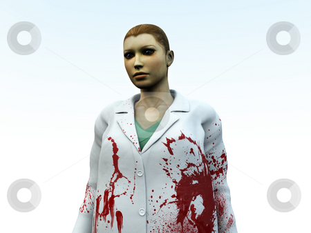 Bloody Nurse  stock photo, Medical or Halloween concept image of a nurse covered in blood. by Chris Harvey