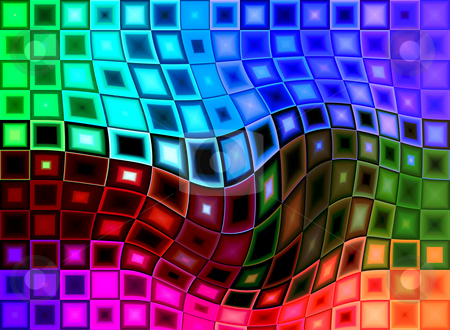 Distorted Square Background stock photo, An abstract colourful square distorted background. by Chris Harvey