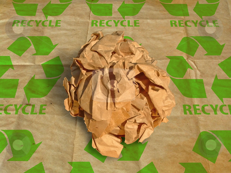 Crinkled papyrus ball stock photo, Piece of old brown paper represented in the long term which has been combined by squares. by citcarsten
