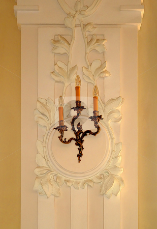 Candelabrum stock photo, The image of illumination on a moulding of Baroque made in ancient style by citcarsten
