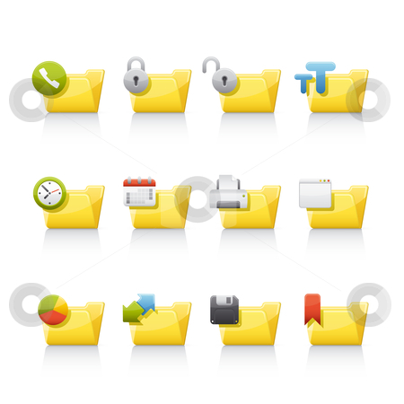Icon Set - Aplication Folders stock vector clipart, Set of icons on white background in Adobe Illustrator EPS 8 format for multiple applications. by Sebasti??n Al?