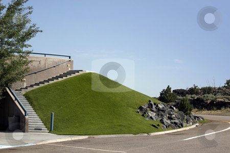 Rest Stop Exit stock photo, Grass Hill and the Stairs by the Rest Stop by Mehmet Dilsiz