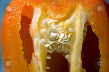 Half Cut Orange Pepper stock photo, Close up on a Half Cut Orange Pepper by Mehmet Dilsiz