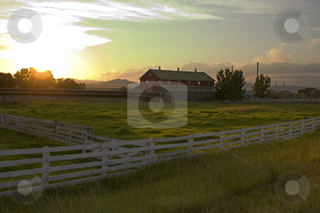 Countryside Fence and the Ranch stock photo, Wooden Fence by the Countryside Ranch by Mehmet Dilsiz