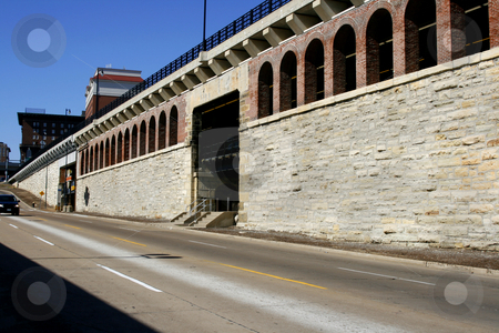Downtown St. Louis stock photo, Road by the Downtown St. Louis by Landing by Mehmet Dilsiz