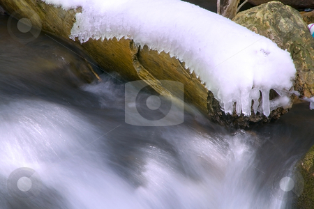 Branch with Snow on a River stock photo, Flowing water in River with Snow on a Brancg by Mehmet Dilsiz