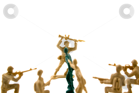 Stubborn Concept - Plastic ArmyMmen stock photo, Isolated Plastic Toy Soldiers - Stubborn Concept by Mehmet Dilsiz