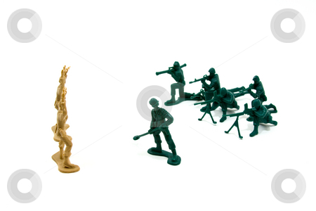 Never Trust the Enemy Concept stock photo, Isolated Plastic Toy Soldiers - Surrender by Mehmet Dilsiz