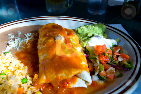 Close up on a Mexican Dish stock photo, Close up on a Mexican Food with Beed in the background by Mehmet Dilsiz