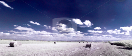 Infrared countryside landscape stock photo, Infrared panoramic french countryside landscape of a beautiful freshly cut wheat field with haystacks  under blue sky with clouds by Laurent Dambies