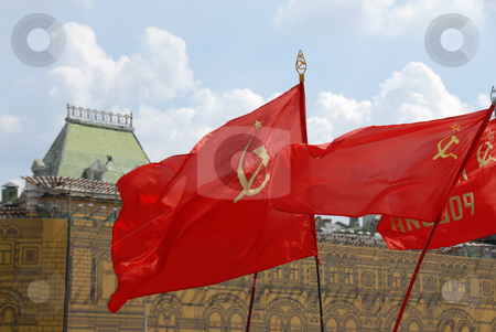 Red soviet flags on Red Square in Moscow stock photo, Red soviet flags on Red Square in Moscow, Russia by Julija Sapic