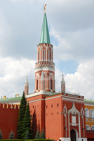 Kremlin Nikolskaya tower on Red Square in Moscow stock photo, Kremlin Nikolskaya tower on Red Square in Moscow, Russia by Julija Sapic