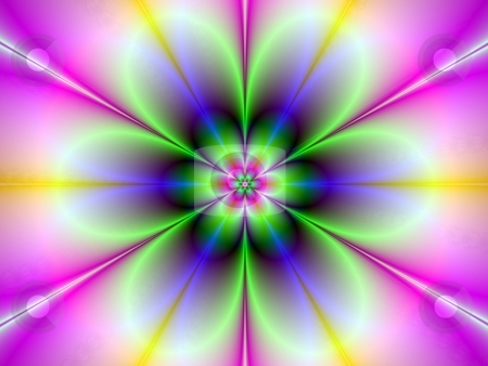 Neon Flower stock photo, Computer generated abstract image with flower design in blue and green on purple background. by Colin Forrest