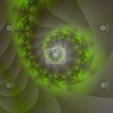Spiral in Shades of Green stock photo, Computer generated abstract with a spiral design in shades of green by Colin Forrest