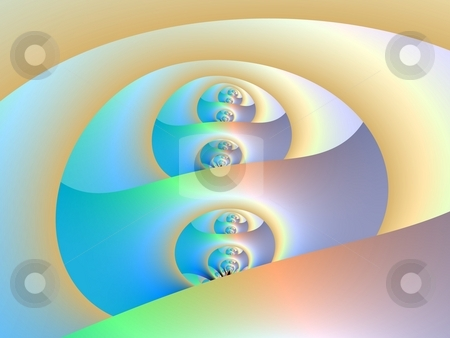Labyrinth stock photo, Computer generated abstract design creating infinite tunnels in pastel colors. by Colin Forrest