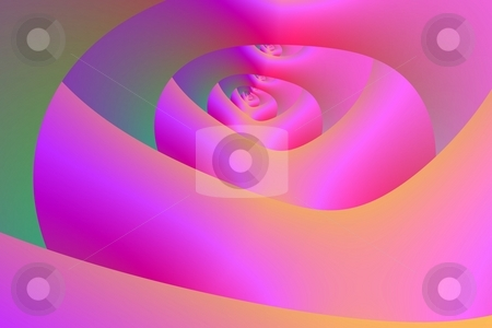 Pink Labyrinth stock photo, Computer generated abstract design creating infinite tunnels in green and pink. by Colin Forrest