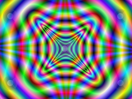 Psychedelic Tunnel stock photo, Computer generated image with a radiating abstract design in yellow green red and blue. by Colin Forrest