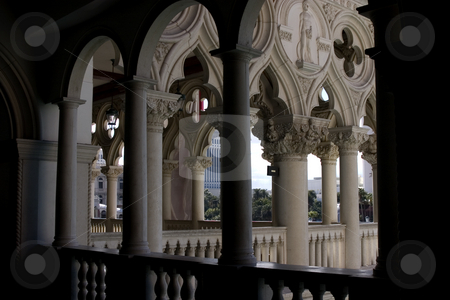 Venetian Balcony Column Design and Arches in Las Vegas stock photo, Venetian Balcony Columns and Arches in Las Vegas Nevada by Mehmet Dilsiz