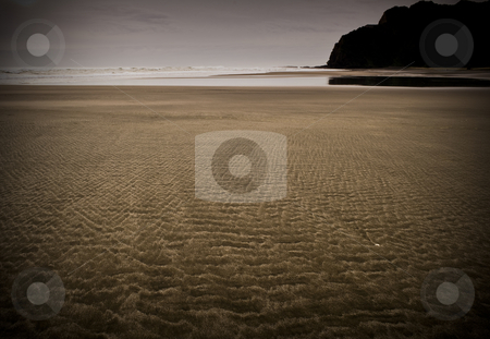 KareKare Beach stock photo, Black sand?? by Robin Ducker