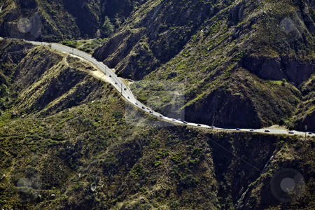 Mountain Highway stock photo, Highway winds through mountains near Malibu, California by Bart Everett