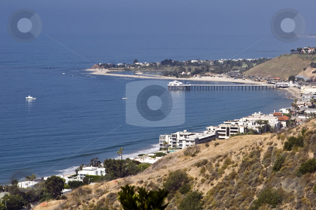 Malibu Coast stock photo, Luxury homes line the Pacific coast near Malibu Point in Southern California by Bart Everett